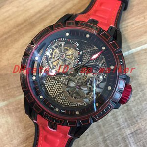 EXCALIBUR homens assistem Dial oco RDDBEX0572 Movimento automático Pulseira de borracha vermelha Relógios mecânicos de esqueleto Relógios Tourbillon reloj de lujo