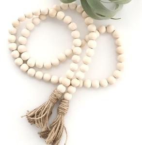 Natural Cadena de madera del grano de la borla de la cadena perlas Hecho a mano de madera de Granja de decoración con la borla de la cuerda del cáñamo Decoración Colgando M1203