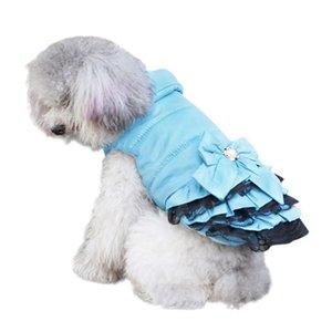 Зима теплой собака платье одежды Sweety BOWKNOT Pet принцесса платье для щенков Cats Teddy Зимнего платья