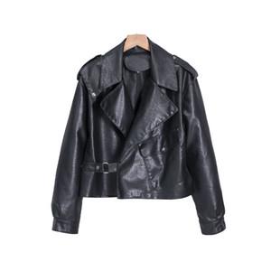 Jacket Mulheres Couro Brasão Moda PU Zipper Sólidos Primavera cores e Moda Outono Biker Motorcycle Slim Fit jaquetas