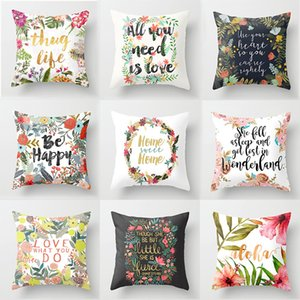 Pillow Case Sigle-sided Polyester Flower Letter Print Cushion Cover Throw Pillow Nordic Living Room Decoration for Home