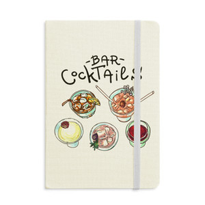 Bar Cocktails Beer Red Wine Notebook Fabric Hard Cover Classic Journal Diary A5
