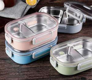 Acero inoxidable termo box lunch para los niños bolsa gris Conjunto de Bento Box a prueba de fugas estilo japonés envase de alimento Lunchbox térmica