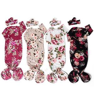 Nouveau-né bébé imprimé floral bébé Romper Floral Swaddle Wrap emmailloter Couverture Sac de couchage Hairband Couvre-chef Romper 0-6M 2PCS