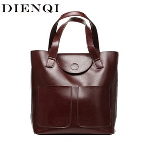 Dienqi Bucket Genuine Leather Shoulder Bags For Women Patent Leather Handbags Big Capacity Ladies Tote Hand Bags Female 2018 J190613