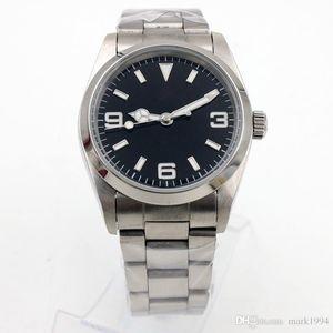새로운 고전 망은 EXP II 스타일의 36mm 블랙 다이얼, 자동 이동 고품질의 스테인레스 스틸 미러 원래 접이식 buckl 손목 시계를보고