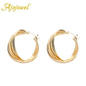 Ajojewel Multi-layer Cross Hoop Earrings For Women Classic Metal Statement Earrings Fashion Jewelry Wholesale