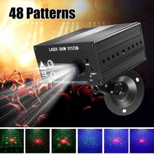 풀 컬러 48 패턴 회전 RGB LED 무대 조명 프로젝터 레드 그린 블루 LED DJ KTV 디스코 빛 레이저 쇼 시스템 110-240V