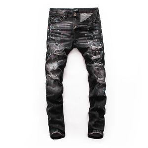nuevos pantalones vaqueros del nuevo diseñador de la marca, polainas, pares de pantalones vaqueros flacos con los pantalones de hombre rasgado por un elegante y look casual. 28-38 libre # 99