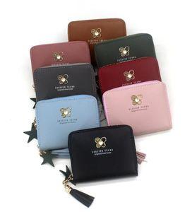 Kadınlar Püskül kısa cüzdan Fermuar bozuk para cüzdanı Cep Cüzdan Kartı Kadın Para Çantası Küçük carteira Sevimli küçük cüzdan cüzdanlar