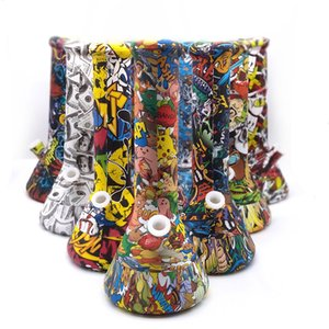 Silicone Bong Cartoon Theme Printing Straight Water Pipes Smoking Bong With Glass Bowl Skull Alien Pattern