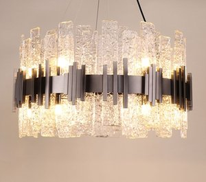 Diseñador moderno Cristal de cristal Chandelier LED Villas de oro Sala de estar Droplights Luces colgantes Hotel Lobby Lustre Lámpara de araña Decoración