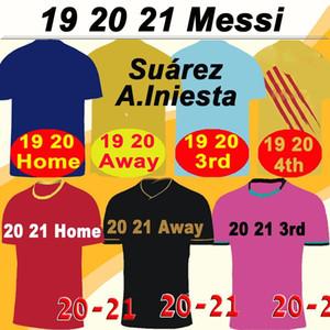 19 20 21 Barcelona MESSI Barca Griezmann Deplasman 3 Erkek Futbol Formalar SUAREZ PIQUE COUTINHO dembele Futbol Gömlek Rakitic F. de Jong Kısa Jersey