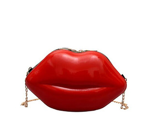 wholesale Sexy Lips Style Fashion Pu Ladies Day Clutch Bag Chain Purse Shoulder Bag Handbag Women's Crossbody Mini Messenger Bag