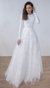Long Sleeves Lace A-line Modest Wedding Dresses Jewel Neck Sweep Train Simple Vintage Lace LDS Bridal Gowns Custom Made