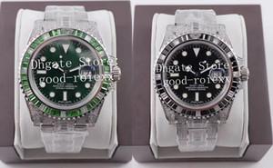 Reloj de lujo para hombre automático Eta 3135 engastado multi del color del arco iris bisel de diamantes pulsera Negro Verde Hulk 904L de acero de los hombres 116610 relojes suizos