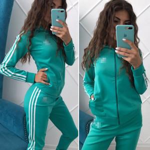Дизайнер спортивный костюм мода спортивный бренд женский спортивный костюм спортивная толстовка повседневная женщины молния куртка три полосы логотип S-XL