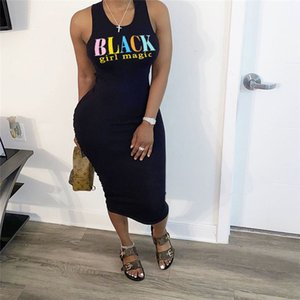 Summer Womens Dresses Designer Letters Sleeveless Skinny Sexy Black Bodycon Dresses Casual Solid Color Female Clothes