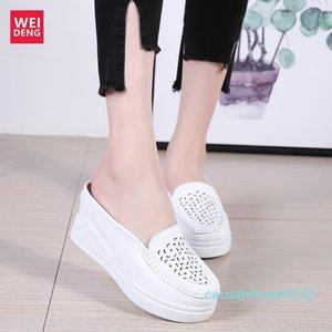 Weideng Kalın Alt Casual Gerçek Deri Yürüme Platformu Ayakkabı 8 Cm Kadınlar Sandalet takozları Nefes Kaymaz Yaz C22 arttırın