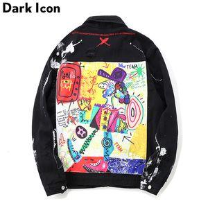 OSCURAS ICON Graffiti Apliques de Hip Hop Jean chaqueta de los hombres 2019 Arte Gone Mad Turn Down cuello dril de algodón chaquetas de los hombres Streetwear ropa MX191109