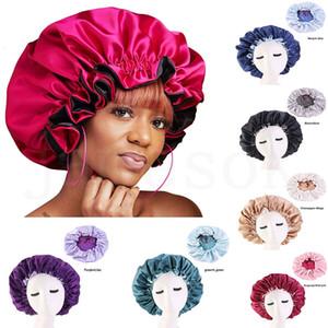 Новый Реверсивные сатин Bonnet двухслойного регулируемого размера Sleep Night Cap Крышка головка Bonnet Hat для Curly Для Springy Черного волоса dc911