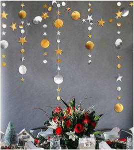 Noel Süslemeleri Ev 4 M Kar Tanesi Yuvarlak Yıldız Kağıt Garlands Noel Süsler Yeni Yıl 2020 Kolye Kerst Navidad. Q