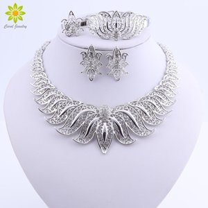 African Beads Jewelry Set Silver Plated Wedding Jewelry Sets For Brides Crystal Necklace Earrings Costume Jewelry Set MX200528