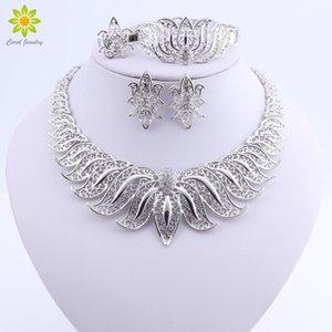 Sistemas de la joyería de la boda joyería perlas africanas Conjunto plateado plata para joyería pendientes del collar de las novias del cristal del MX200528