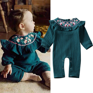 Newborn Baby Girl Boy Flower Ruffle Romper Embroidery Jumpsuit Outfits 0-18M