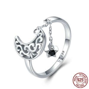Yeni Yüksek Kaliteli Lüks CZ Taşlar Ay ve Yıldız Ayarlanabilir Yüzük 925 Gümüş Romantik Siyah Elmas Yüzük Takı ücretsiz gönderim