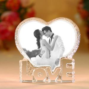 Personalizado Coração do amor dado forma de cristal Wedding Photo Album Pictures Stickup quadro da foto do bebê Decoração Amigos presentes do amante da Família