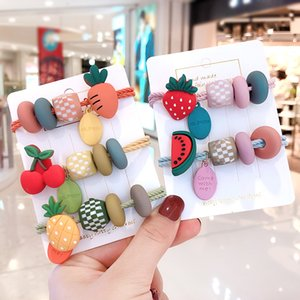 Children Cute Fresh Cartoon Cherry Strawberry Watermelon Pineapple Elastic Hair Clips Girsl Lovely Hairpins Kid Hair Accessories