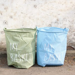 كيس نايلون كتان للغسيل مع مقبض حقيبة قماش تخزين لعبة تخزين دلو قماش متسخ أدوات المطبخ
