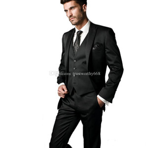 New Arrival One Button Groomsmen Peak Lapel Groom Tuxedos Men Suits Wedding Prom Best Man Blazer ( Jacket+Pants+Vest+Tie) AA14