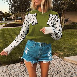 Leopard Pattern женщин конструктора свитера способа втулки Щитовые пуловер Crew Neck Женские свитера вскользь Женщины одежда