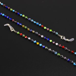 2019 New multicolor Colors Mixed Round Turkish Hamsa Evil Eye Beads Glazed Glass Beads for woman glass chain Eyewear Wholesale