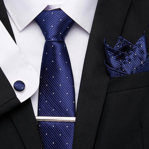 Erkekler Wedding İş Parti 7.5cm Suit 12601 İçin Set 20 Stil Erkekler Tie% 100 İpek Klasik Kravat Mendil Kol Düğmeleri Klipler