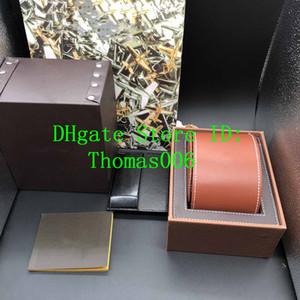 Melhor Qualidade Castanho Cor leathe Caixas de presente Box 1884 Watch Box Folhetos Cartões Preto Caixa de madeira para Watch Inclui Certificado New Bag