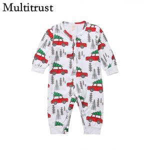 Nouveau-né bébé Cartoon Automne Hiver voiture Romper Top Jumpsuit Xmas Tree Vêtements tenue de Noël