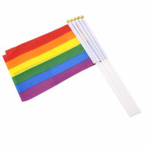 Полиэфирные Волокна Радуга Флаг 14x21 см Малый Размер Гомосексуализм Цвет Полосы Руки Флаги Партии Парад Празднование Статьи Части LX6421