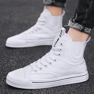 أحذية قماش رجالي السامية الأعلى أحذية الرجال طلاب موضة تنفس أحذية رجالية عادية يومية اللباس المطاط لينة وحيد