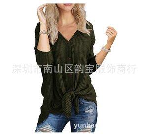 Automne manches longues blouse col V gilet T-shirt Knits femmes __gVirt_NP_NN_NNPS<__ pull en tricot Tees fines rayures de fil de laine Splicing unique poitrine bon