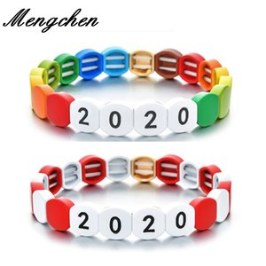 Bohemian rainbow 2020 Letter Tile Bracelet For Women Men Handmade Popular Enameled Friend Jewelry Latest Fashion Bangle