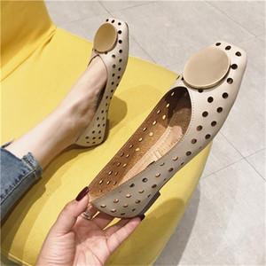 la calidad de las mujeres hueco hacia fuera el zapato planos ocasionales zapatos atractivos del verano de las mujeres de la PU cómoda respirable solo zapato Mujer Chaussures Femm