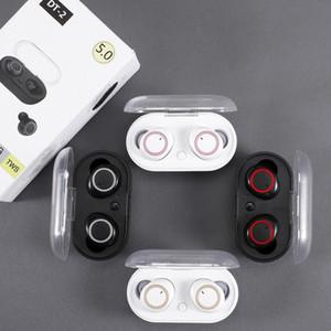 Çift Mikrofon 5.0 ile Yeni DT-2 tws Kulaklık 5.0 Bluetooth Kulaklık 3D Stereo Kablosuz Kulaklık In-Kulaklık Handfree Spor Buds