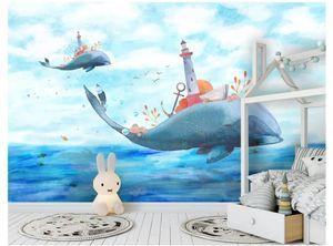 Papel de parede Personnalisé 3D photo papier peint mural Papier peint Ville Fantasy Sky City Enfants Canapé Fond Autocollant Mural sur Baleine Retour