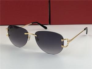 Pilot Rimless Sunglasses ct0102s Gold Grey Gradient Lenses Sonnenbrille des lunettes de soleil Mens Designer Sunglasses New with Box