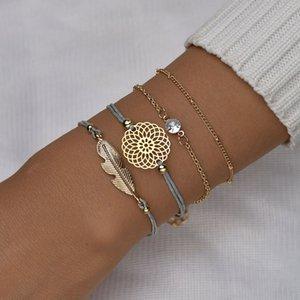 Wholesale European and American Jewelry Fashionable Simple Multilayer Leaf Hollow Rose Bracelet Hand Woven Bracelet Bracelet1326
