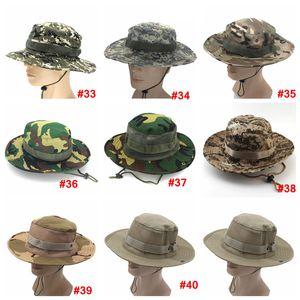 Pliable Armée Chapeau Sport extérieur filet camouflage jungle militaire Cap adultes Hommes Femmes Cowboy Chapeaux Boonie pour la pêche LJJA3704
