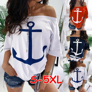 Women Plus Size S-5XL Tee Shirts Boat Anchor Print Loose T-shirts Off Shoulder Tops Slash Neck Summer Casual Clothing Cheap 2707